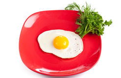 Red plate with fried egg Royalty Free Stock Image