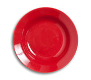 Red plate isolated Stock Photo