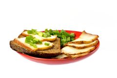 Red plate with a piece of bread and bacon Stock Images