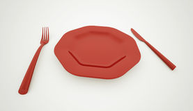 Red plate with service Royalty Free Stock Photo
