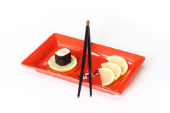Red plate of sushi Stock Photos