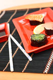 Red plate of sushi Stock Photography