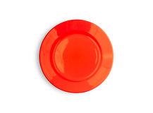 Red plate on white like Japan flag top view Stock Photo