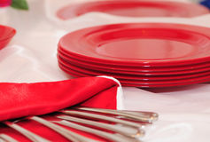 Red plates Stock Photos