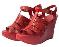Red platform sandals Stock Photos
