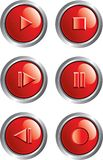 Red player buttons. Illustration of red player buttons Royalty Free Stock Photo