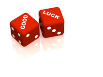 Red playing bones with words good and luck Stock Photography