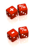 Red playing boxes with symbols plus, minus and percent Royalty Free Stock Photos