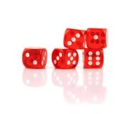 Red playing dices isolated stock photography