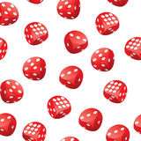Red playing dices seamless pattern Stock Photos