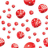 Red playing dices seamless pattern Stock Photo