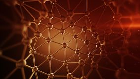 Red plexus lines and nodes network abstract 3D rendering. Red plexus lines and nodes network. Concept of internet communication technology and science. Abstract Royalty Free Stock Images