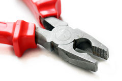 Red pliers. Closeup - DIY concept royalty free stock photos