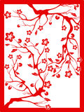 Red plum blossom-paper cut. The Chinese red paper cut of plum blossom vector illustration