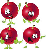 Red plum cartoon with hands and legs standing isolated Royalty Free Stock Images