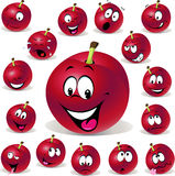 Red plum cartoon illustration with many expression Stock Photos
