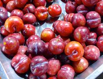 Red plum closeup Stock Photo