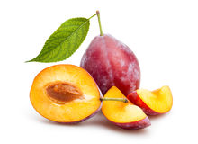 Red plum. Cut on white background Stock Image