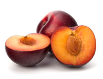Red plum fruit Stock Photo