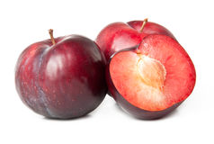 Red plum fruit Stock Photos