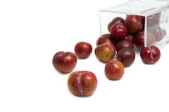 Red plum fruit in glass box Stock Photo