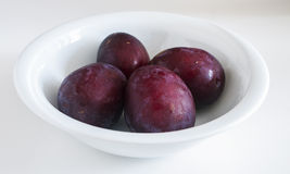 Red plum fruit isolated on white background Royalty Free Stock Images