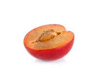 Red plum fruit isolated on white background Stock Image