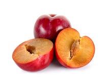 Red plum fruit isolated on white background Royalty Free Stock Photo