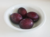 Red plum fruit  on white background Stock Images