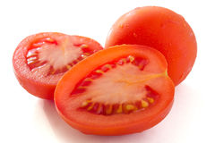 Red plum tomato cut in half Stock Images