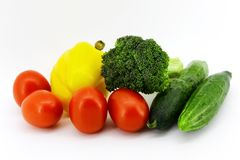 Lots of fresh vegetables for cooking different food on white background stock photo