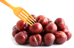 Red plum on white background Stock Photography