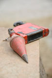 Red plumb on wood plate stock photos