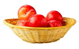 Red plums in a basket. Royalty Free Stock Image