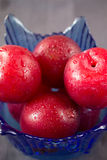 Red plums. Closeup of whole red plums in blue bowl Royalty Free Stock Photo