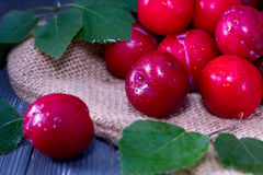 Red plums on wooden table Stock Photo