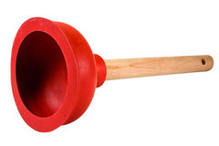 Red Plunger Inside. Red Plunger to unclog toilets Stock Photo