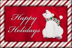 Red Plush Fur and Christmas Bear Christmas Message Stock Photography