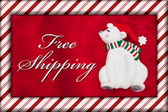 Red Plush Fur and Christmas Bear with Free Shipping Message Stock Images