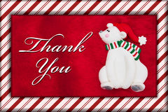 Red Plush Fur and Christmas Bear with Thank You Message royalty free stock photos