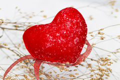 Red plush heart as a symbol of love valentine's name on a backgr Royalty Free Stock Image