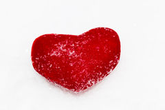 Red plush heart as a symbol of love valentine's name on a backgr Stock Photo