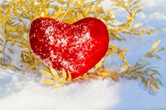 Red plush heart as a symbol of love valentine's name on a backgr Stock Images