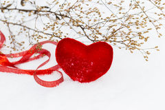 Red plush heart as a symbol of love valentine's name on a backgr Stock Photography