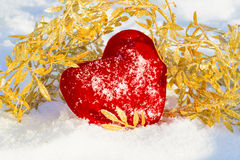 Red plush heart as a symbol of love valentine's name Royalty Free Stock Image