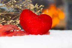 Red plush heart as a symbol of love valentine's name Royalty Free Stock Images