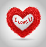 Red plush heart Royalty Free Stock Photos