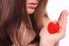 Red plush heart and lips Stock Image