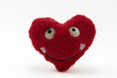 Red plush heart Stock Photos