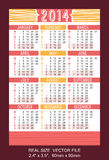 Red pocket calendar 2014 VECTOR SIZE: 2.4 Stock Image